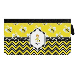 Buzzing Bee Genuine Leather Ladies Zippered Wallet (Personalized)