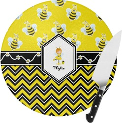 Buzzing Bee Round Glass Cutting Board (Personalized)
