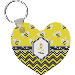 Buzzing Bee Heart Keychain (Personalized)
