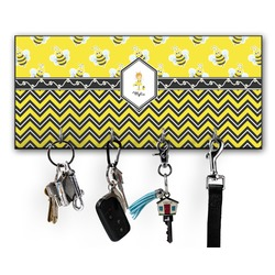Buzzing Bee Key Hanger w/ 4 Hooks (Personalized)