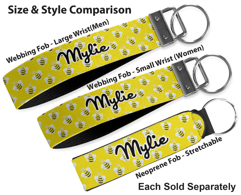 Key Fob Key Chain Holder Wrist Lanyard Strap Bumble Bee Yellow Buzz