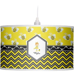 Buzzing Bee Drum Pendant Lamp Linen (Personalized)