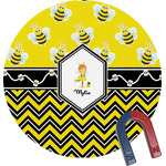 Buzzing Bee Round Fridge Magnet (Personalized)