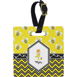 Buzzing Bee Square Luggage Tag (Personalized)
