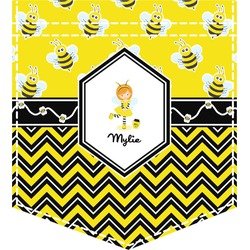 Buzzing Bee Iron On Faux Pocket (Personalized)