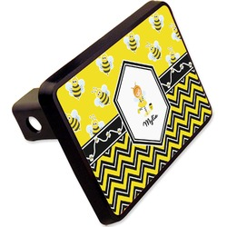 """Buzzing Bee Rectangular Trailer Hitch Cover - 2"""" (Personalized)"""