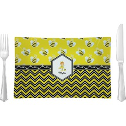Buzzing Bee Glass Rectangular Lunch / Dinner Plate - Single or Set (Personalized)