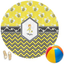 Buzzing Bee Round Beach Towel (Personalized)