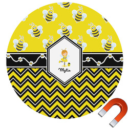 Buzzing Bee Round Car Magnet (Personalized)