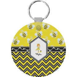 Buzzing Bee Round Keychain (Personalized)