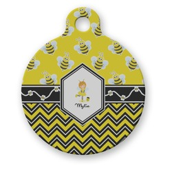 Buzzing Bee Round Pet Tag (Personalized)