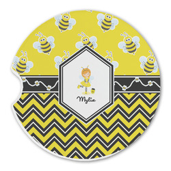 Buzzing Bee Sandstone Car Coaster - Single (Personalized)