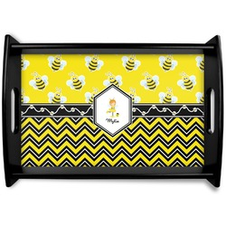 Buzzing Bee Black Wooden Tray - Small (Personalized)