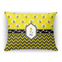 Buzzing Bee Rectangular Throw Pillow Case (Personalized)