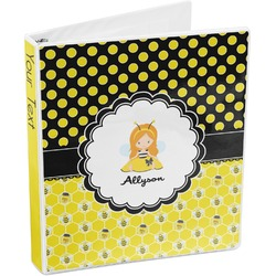 Honeycomb, Bees & Polka Dots 3-Ring Binder (Personalized)