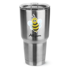 Honeycomb, Bees & Polka Dots 30 oz Silver Stainless Steel Tumbler w/Full Color Graphics (Personalized)