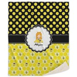 Honeycomb, Bees & Polka Dots Sherpa Throw Blanket (Personalized)