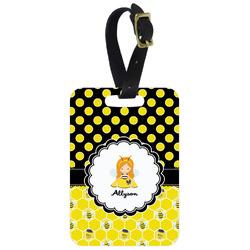 Honeycomb, Bees & Polka Dots Aluminum Luggage Tag (Personalized)