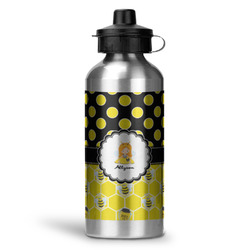 Honeycomb, Bees & Polka Dots Water Bottle - Aluminum - 20 oz (Personalized)