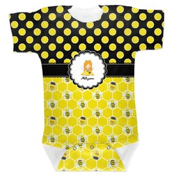 Honeycomb, Bees & Polka Dots Baby Bodysuit 0-3 (Personalized)
