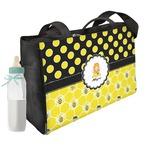 Honeycomb, Bees & Polka Dots Diaper Bag w/ Name or Text