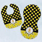 Honeycomb, Bees & Polka Dots Baby Bib & Burp Set w/ Name or Text
