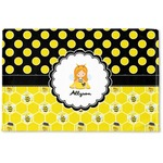 Honeycomb, Bees & Polka Dots Woven Mat (Personalized)