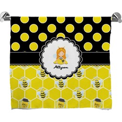 Honeycomb, Bees & Polka Dots Full Print Bath Towel (Personalized)