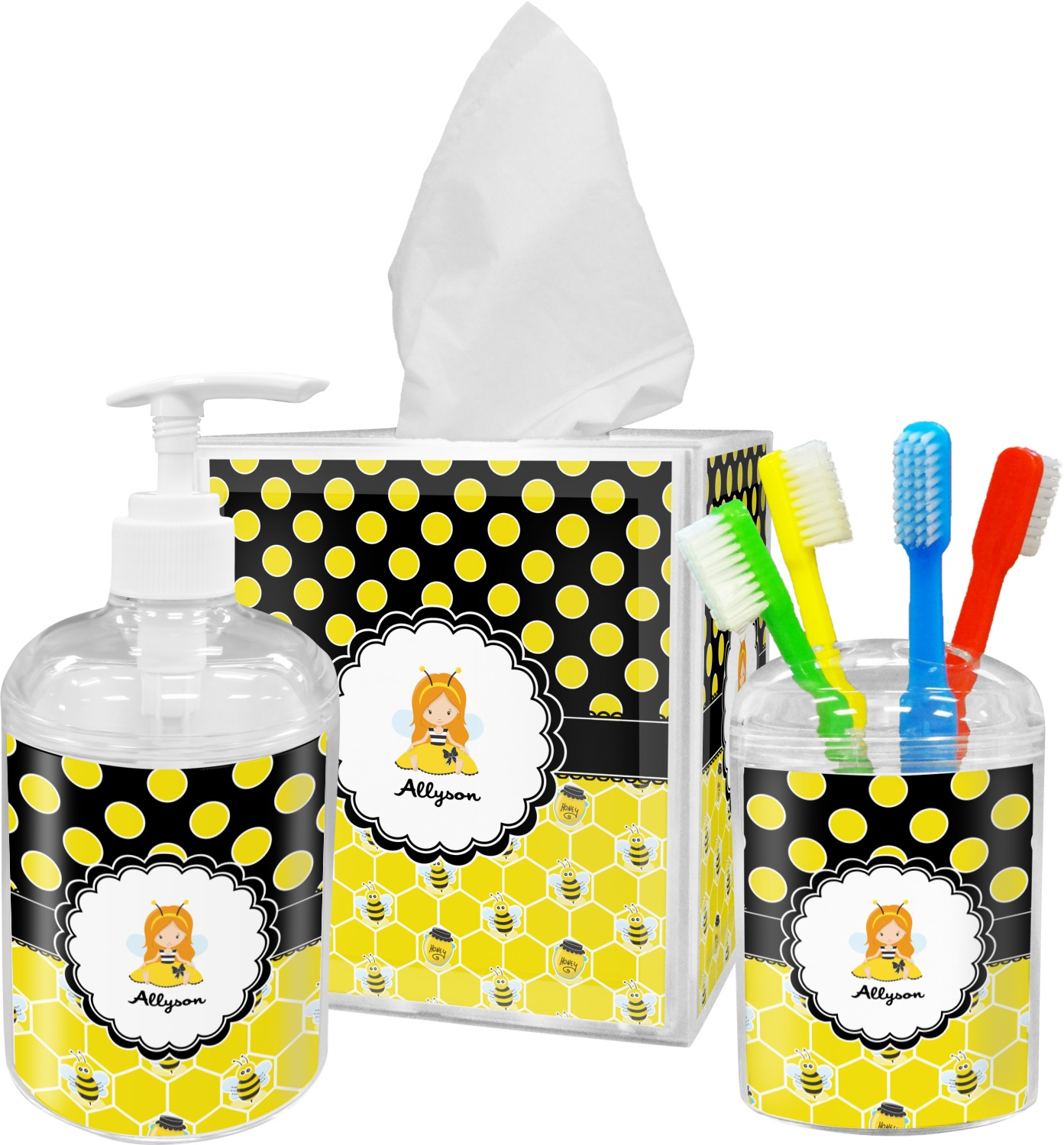 Honeycomb Bees Polka Dots Bathroom Accessories Set Personalized Youcustomizeit