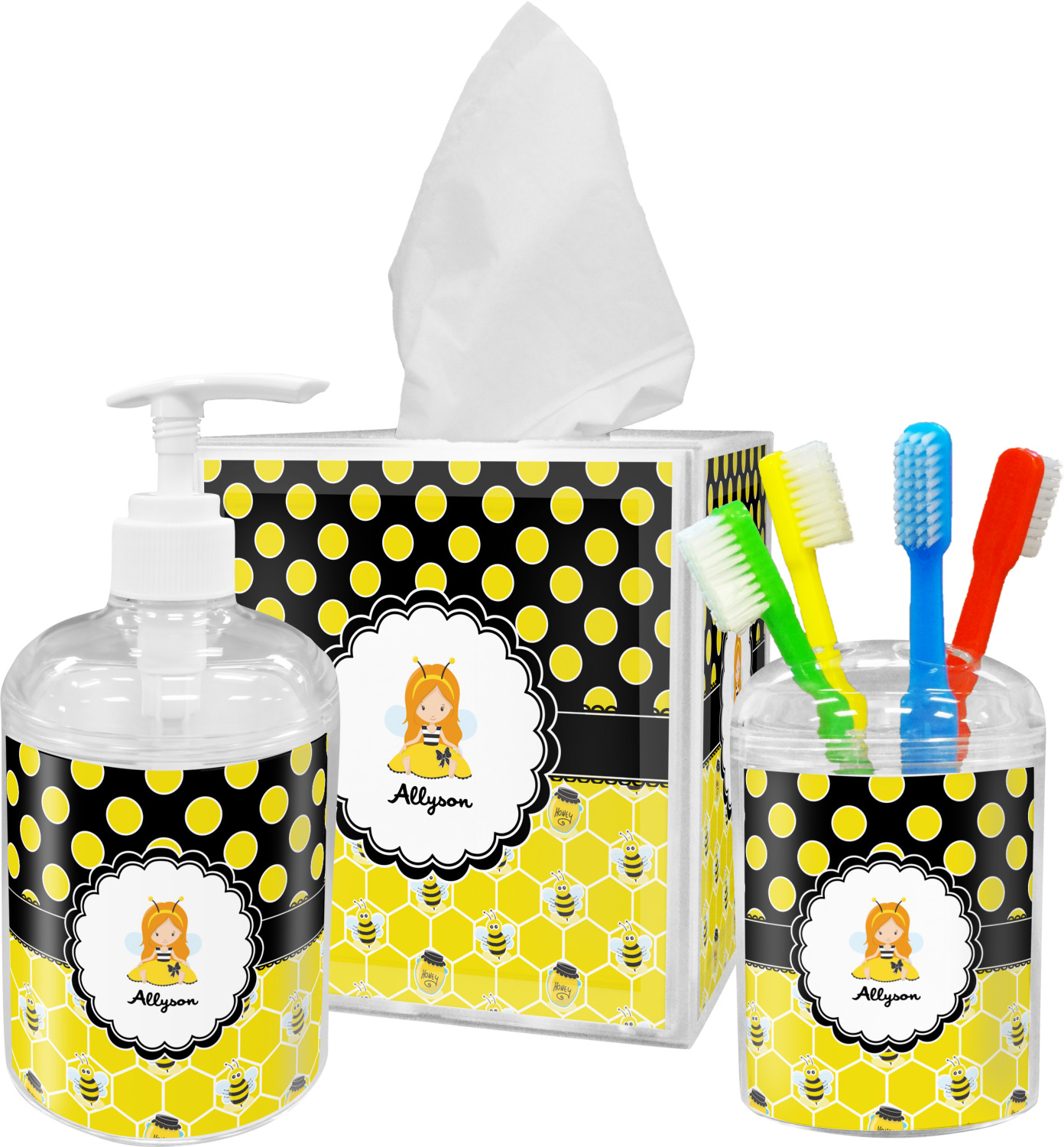Honeycomb Bees Polka Dots Bathroom Accessories Set Personalized