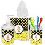 Honeycomb, Bees & Polka Dots Acrylic Bathroom Accessories Set w/ Name or Text