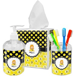 Honeycomb, Bees & Polka Dots Bathroom Accessories Set (Personalized)