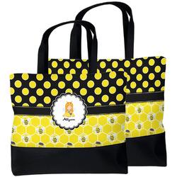 Honeycomb, Bees & Polka Dots Beach Tote Bag (Personalized)