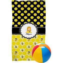 Honeycomb, Bees & Polka Dots Beach Towel (Personalized)