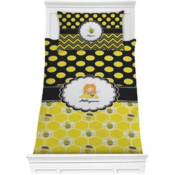 Honeycomb, Bees & Polka Dots Comforter Set - Twin (Personalized)