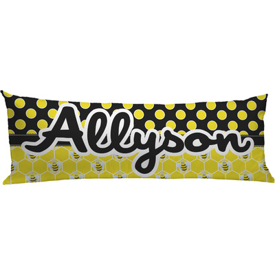 Honeycomb, Bees & Polka Dots Body Pillow Case (Personalized)