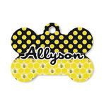 Honeycomb, Bees & Polka Dots Bone Shaped Dog Tag (Personalized)