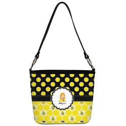 Honeycomb, Bees & Polka Dots Bucket Bag w/ Genuine Leather Trim (Personalized)