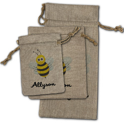 Honeycomb, Bees & Polka Dots Burlap Gift Bags (Personalized)