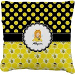 Honeycomb, Bees & Polka Dots Faux-Linen Throw Pillow (Personalized)