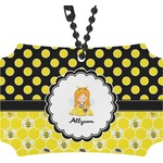 Honeycomb, Bees & Polka Dots Rear View Mirror Ornament (Personalized)