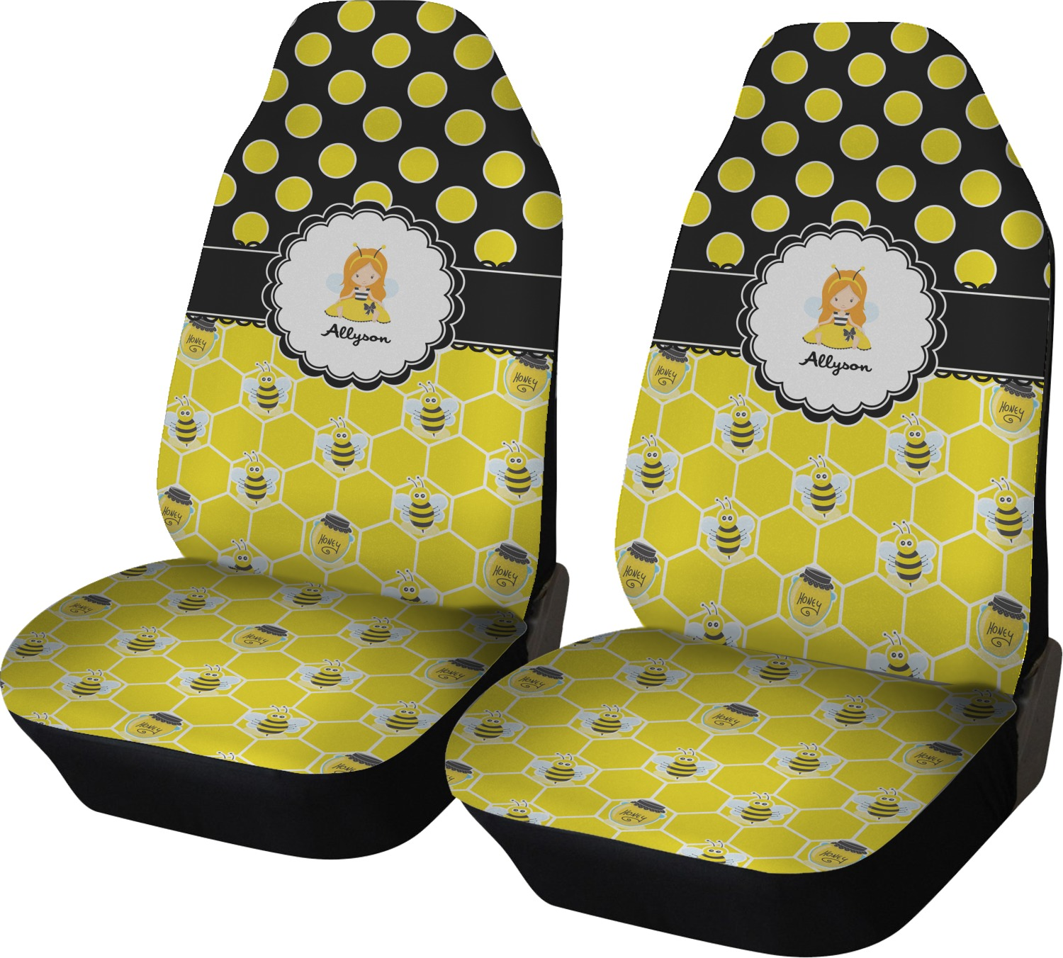 Honeycomb Bees Polka Dots Car Seat Covers Set Of Two Personalized