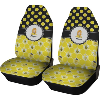 honeycomb bees polka dots car seat covers set of two personalized youcustomizeit. Black Bedroom Furniture Sets. Home Design Ideas