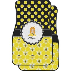 Honeycomb, Bees & Polka Dots Car Floor Mats (Front Seat) (Personalized)