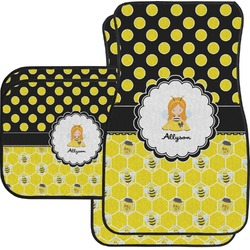 Honeycomb, Bees & Polka Dots Car Floor Mats Set - 2 Front & 2 Back (Personalized)