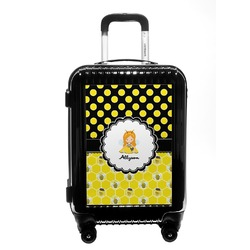 Honeycomb, Bees & Polka Dots Carry On Hard Shell Suitcase (Personalized)