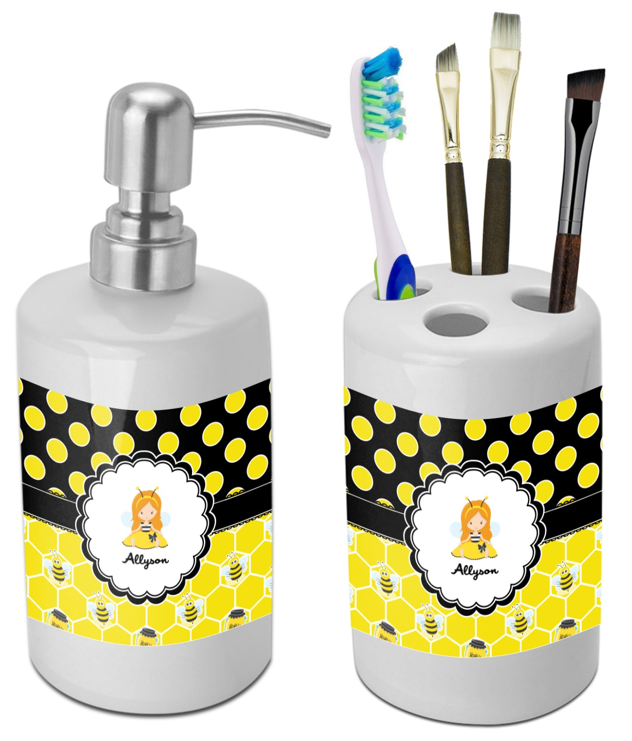 Honeycomb Bees Polka Dots Bathroom Accessories Set Ceramic Personalized Youcustomizeit