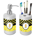 Honeycomb, Bees & Polka Dots Bathroom Accessories Set (Ceramic) (Personalized)