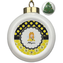 Honeycomb, Bees & Polka Dots Ceramic Ball Ornament - Christmas Tree (Personalized)