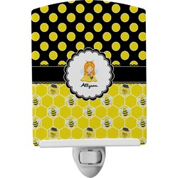 Honeycomb, Bees & Polka Dots Ceramic Night Light (Personalized)